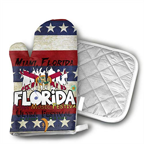 TRENDCAT Florida Music Festival Oven Mitts and Potholders (2-Piece Sets) - Extra Long Professional Heat Resistant Pot Holder & Baking Gloves - Food Safe]()