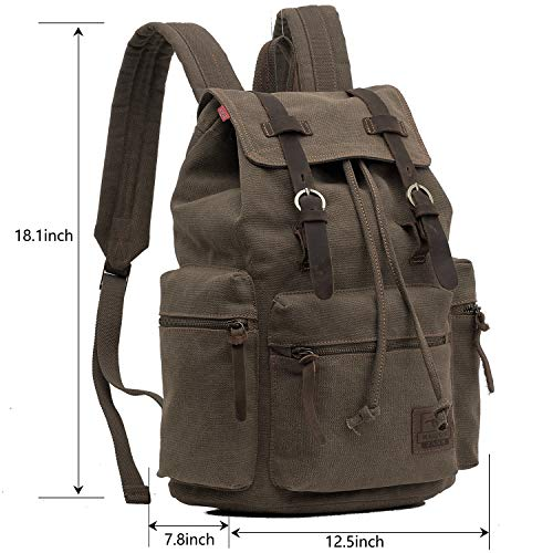 2a0fa130b7b2 ONEB Laptop Canvas Backpack Unisex Vintage Leather Casual Rucksack ...