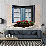 Anniutwo Country Large tablecloths Mediterranean Style Window with Open Window Shutters Image French Urban Life Decor Wall Hanging Tapestries W84 x L54 (inch) Blue Grey
