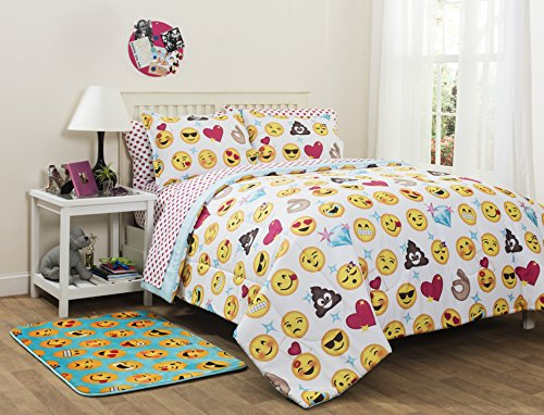 Emoji Pals Bed in a Bag, Twin (Twin Set Complete Bedding Sheet)