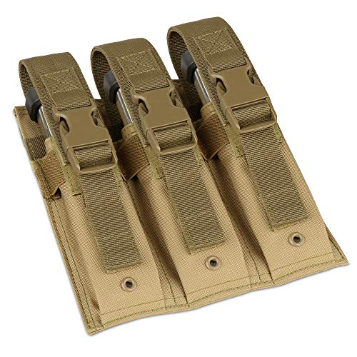 Savior Equipment Tactical Open-Top Triple Pistol MOLLE Magazine Pouch - Adjustable & Removable Hook-N-Loop Cover Strap, Compatible with Extended Mag