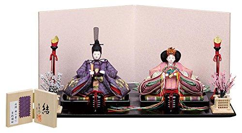 雛人形 スキヨ ひな人形 平飾り 親王飾り 柴田家千代作 結 正絹 麻の葉に京刺繍桜 h303-sk-179-4121   B077X7W7Y4
