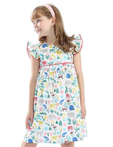 (Hongshilian Girls Summer Casual Dress Cotton Short-Sleeved Cute Cartoon T-Shirt Dresses(2-3Y,Zoo &)