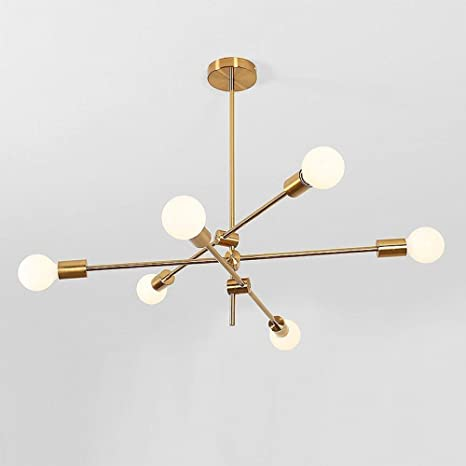 Booms Modern Chandelier 6 Light Round Glass Shade Ceiling Light Led Chandelier Recessed Lights Suitable For Bedroom Living Room Aisle Hotel Room Amazon Com