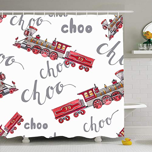 - Ahawoso Shower Curtain 72x72 Inches Engine Abstract Watercolor Retro Train Steam Punk Machine Vintage Antique Baby Child Color Design Waterproof Polyester Fabric Set with Hooks