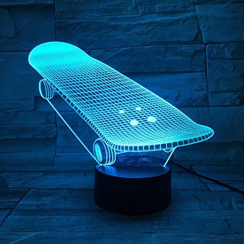 LE3D 3D Optical Illusion Desk Lamp/3D Optical Illusion Night Light, 7 Color LED 3D Lamp, Skate board 3D LED For Kids and Adults, Skateboard Light Up