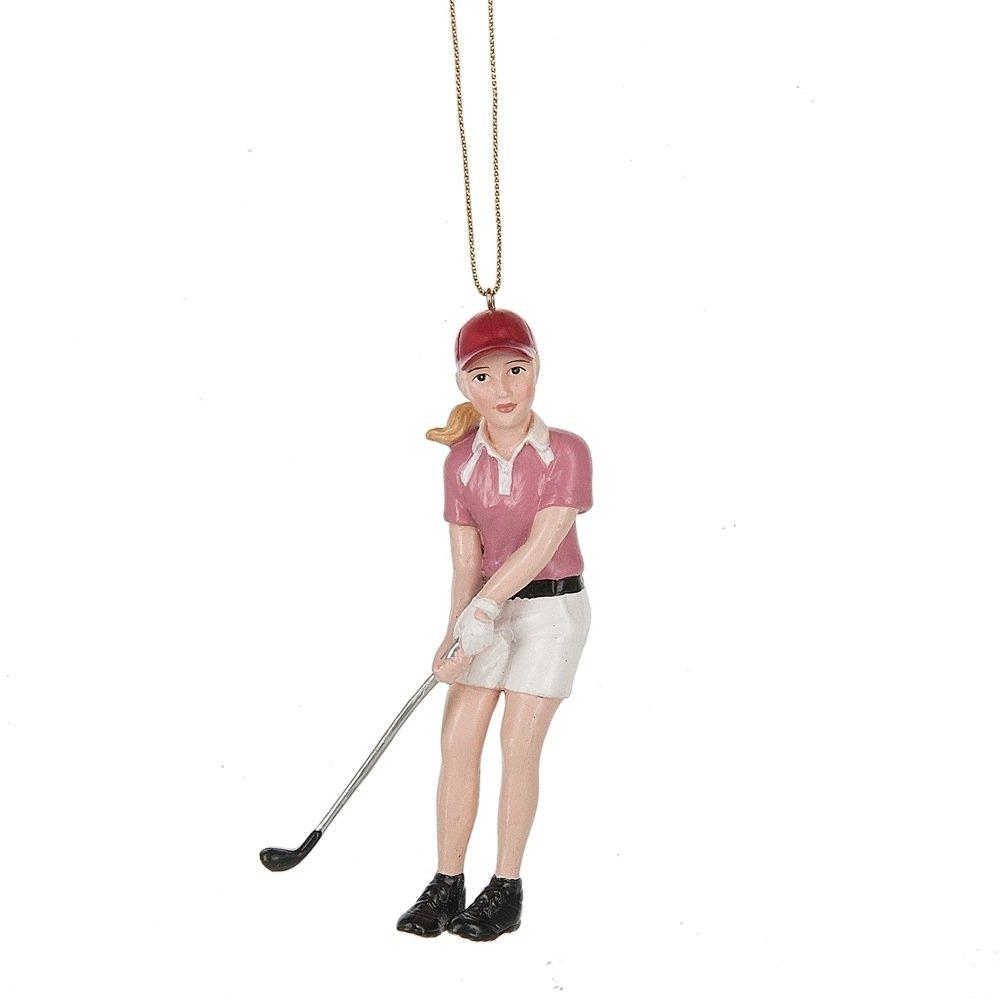 Golfer Girl Pink 2.5 x 5 Inch Resin Christmas Ornament Figurine