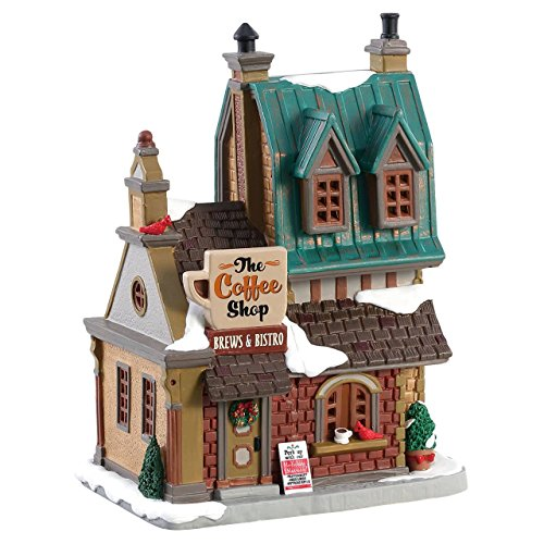Lemax 85380 The Coffee Shop, Caddington Village Collection, Porcelain Colorful Decorated Miniature Lighted Building, X'mas Decor/Gift/Collectible, On/Off Switch, 7.87