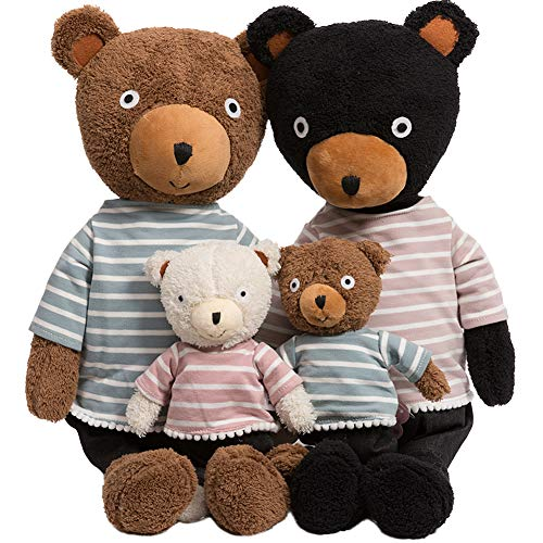 iBonny Teddy Bear Stuffed Animal Soft Plush Bear Family Doll with Removable Clothes Set of 4 Pcs