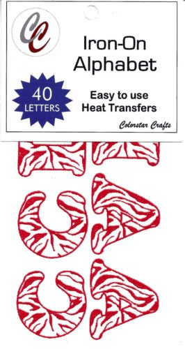 LETTERS - Iron On 1.25'' Red & White Zebra Letters, (40 Pieces)/Iron-O Our custom patches are perfect for uniforms, duffle bags, jackets or any other (1.25' Ribbon)