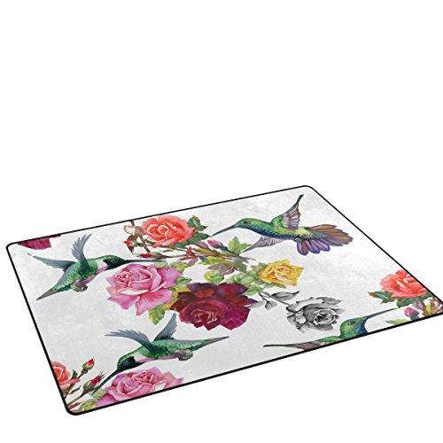 LORVIES Exotic Hummingbirds With Flowers Area Rug Carpet Non-Slip Floor Mat Doormats for Living Room Bedroom 60 x 39 inches