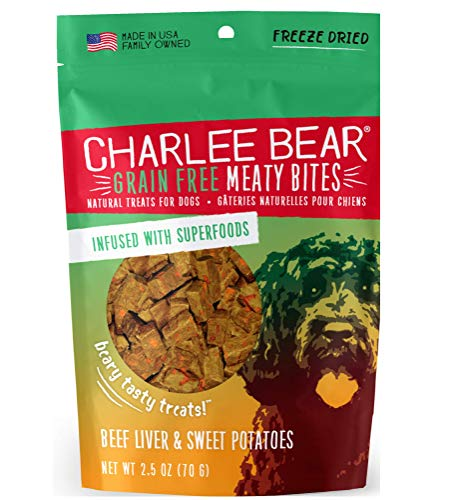 Charlee Bear Grain Free Meaty Bites Natural Treats for Dogs, Freeze Dried Meat Infused with Superfoods, Made in the USA…