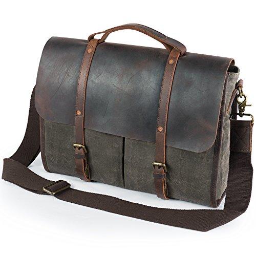 Lifewit Men's Messenger Bag Waterproof Leather Waxed Canvas Laptop Satchel Computer Shoulder Briefcase, Green (Messenger Boston Bag)