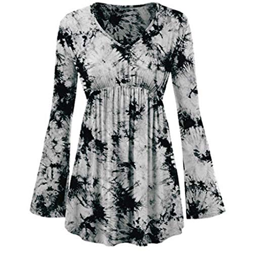 Shirt Sexy Pieghe Camicia Abito T Casual Manica V lunga Collo Eleganti Moda Ningsun Tie Stampare Maglietta Camicetta Donna Bianco Linea vita Top di Dye Donne Mini Moda BqtZd14