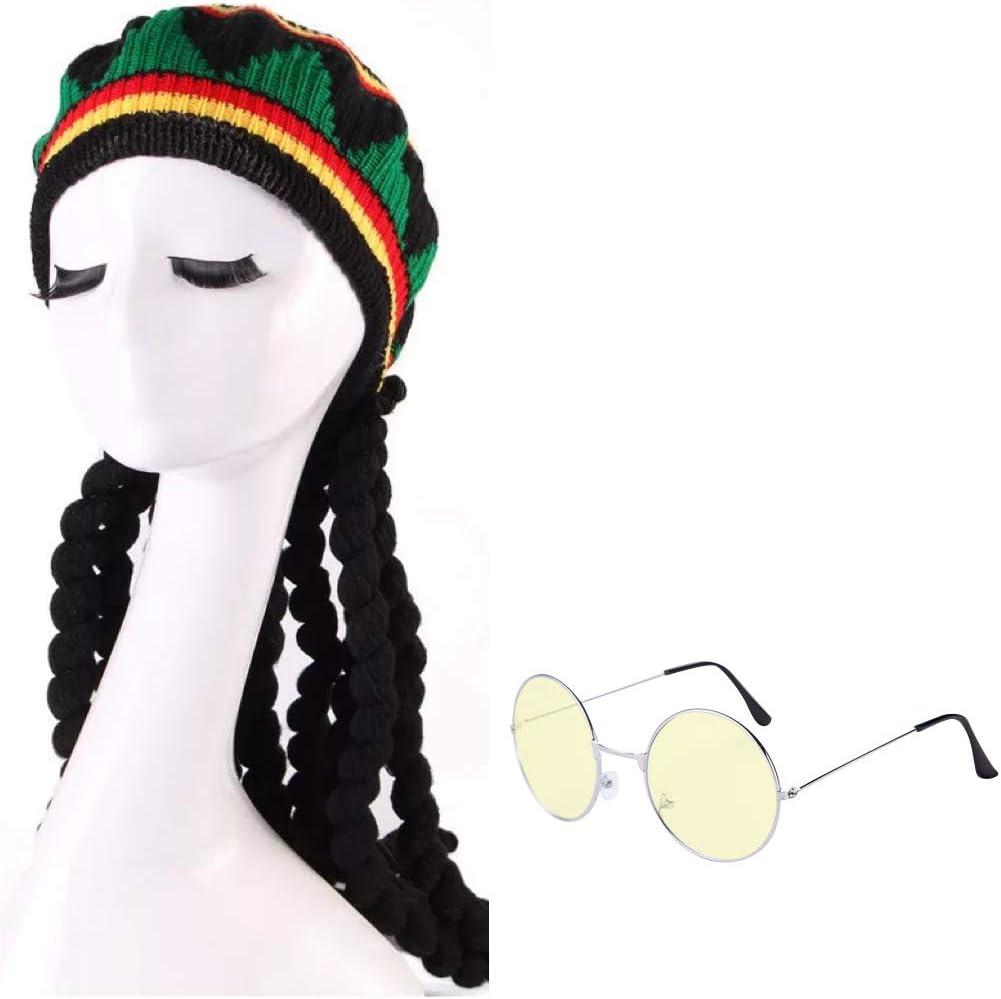 thematys Peluca y Gorra Bob Marley Dreadlocks con Gafas de 2 ...