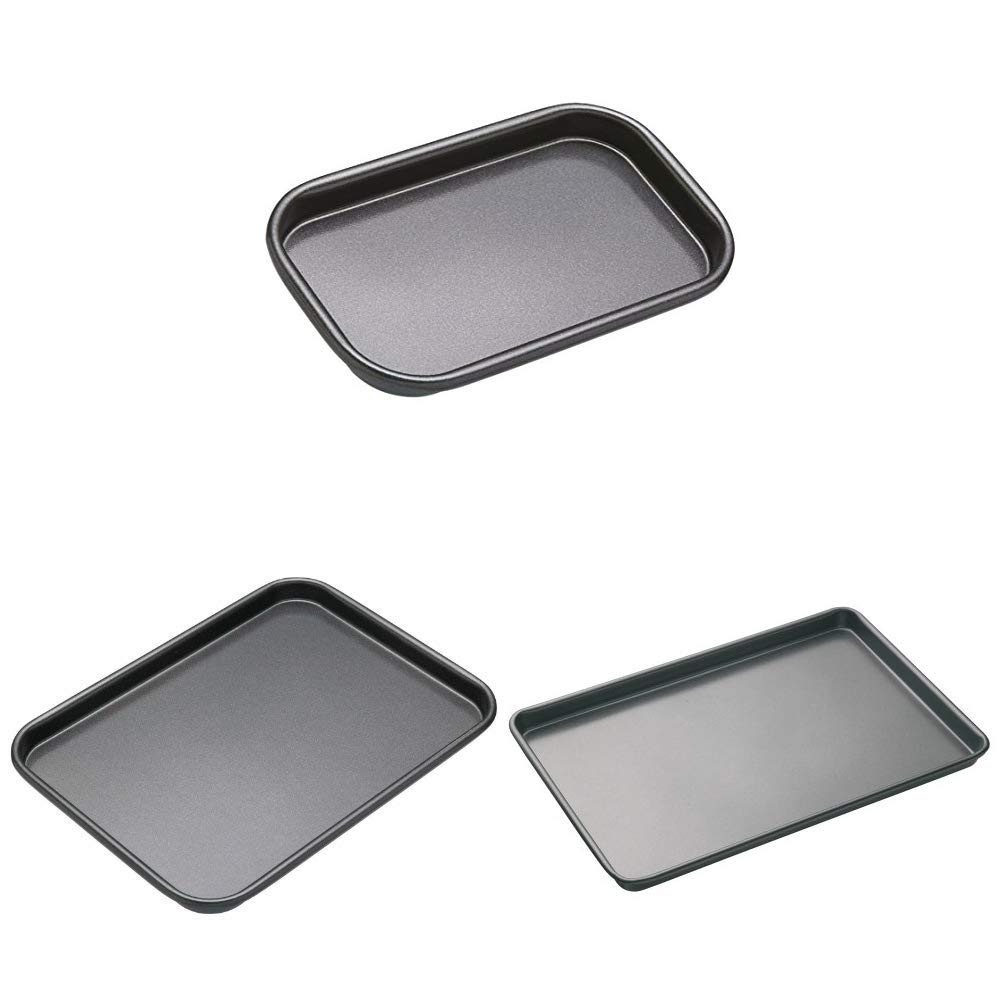 Non Stick Baking Tray For Biscuits Cookies Oven Chips Pizza Grey 24 X 18 Cm