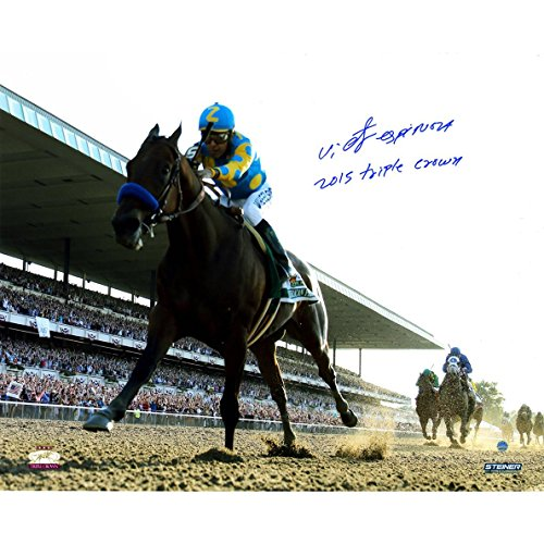 Steiner Sports Victor Espinoza Signed 2015 Belmont Stakes Photo with Triple Crown, 16'' x 20'' by Steiner Sports