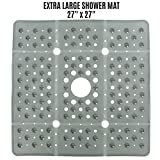 SlipX Solutions Extra Large Gray Square Shower Mat Provides 65% More Coverage & Non-Slip Traction (27' Sides, 100 Suction Cups, Great Drainage)