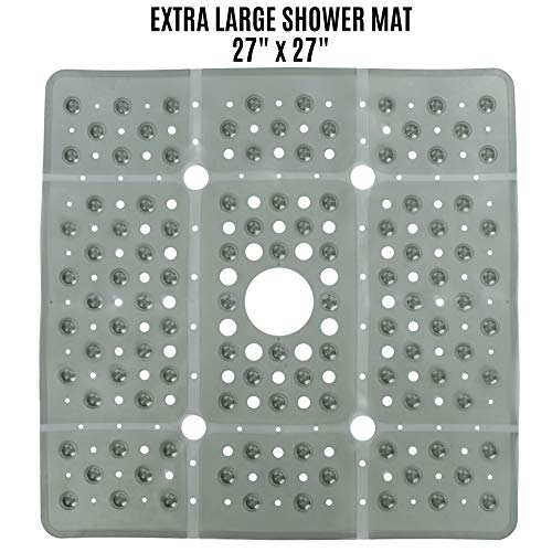 SlipX Solutions Extra Large Square Shower Mat Provides 65% More Coverage &...