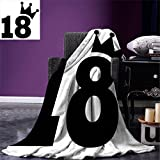 smallbeefly 18th Birthday Digital Printing Blanket Cartoon Soccer Jersey Seem Bold 18 Number Party Sports Playing Art Print Summer Quilt Comforter Black and White