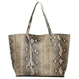 BEATRICE Womens Snakeskin Design Shoulder Large Tote Bags Travel Purses Satchel Hobo Handbags