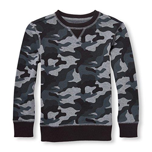 (The Children's Place Big Boys' Crewneck Fleece Sweatshirt, Heather/T Hound, M (7/8))