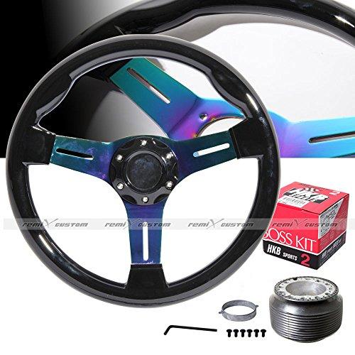(1989 - 1998 Nissan 240SX S13 S14 350mm Black Wood Titanium Steering Wheel with Hub Adaptor)