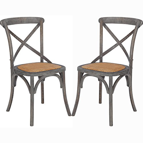 Poly and Bark Cafton Crossback Chair in Ash Gray (Set of (Woven Back Chairs)