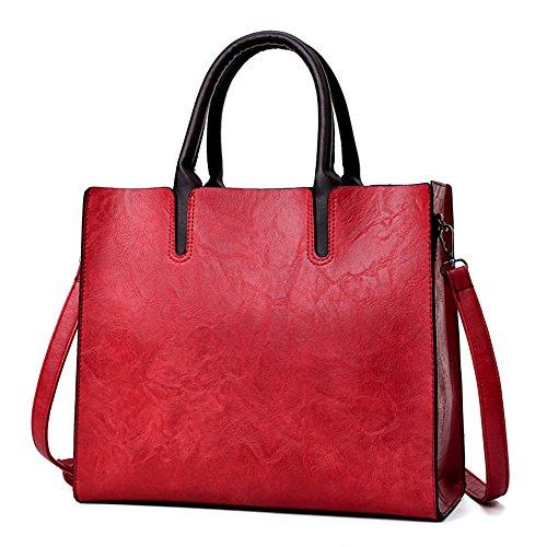 Cuero Bolsos De Shopping Nuevo Moda Y De Bolsos Meaeo Los Bag Bolso Cera Negro La Gules Sw8xqAWYI