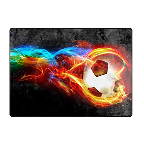 Ultra Soft Indoor Flaming Soccer Colorful Area Rugs Fluffy Living Room Carpets for Children Bedroom Home Decor Nursery 4 Feet by 5.3 Feet ()