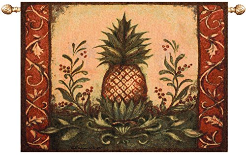 Pineapple Hospitality Motif Cotton Tapestry Wall Hanging