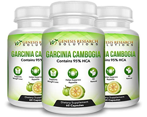 100% Pure 95% HCA Genuine Garcinia Cambogia Plus, Healthy Appetite Suppressant for Natural Weight Loss & Detox Diet. Plus Energy & Focus Booster - 100% Natural Supplement Extract. 3 Pack