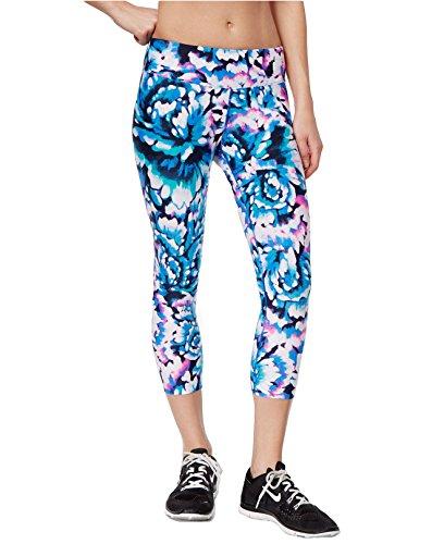 Calvin Klein Performance Women's Rose-Print Cropped Capri Leggings, Radiant Blue, XX-Large