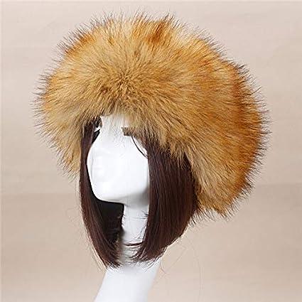 17790018e1e55 Image Unavailable. Image not available for. Color  Blue Stones Man Women  Fur Hats 2019 Thick Furry Warm Authentic Faux Fur Hat Headband Autumn