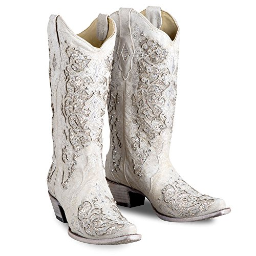 Corral Women's 14-inch White Glitter Inlay & Crystals Snip Toe Pull-On Leather Boots - 6 B by CORRAL