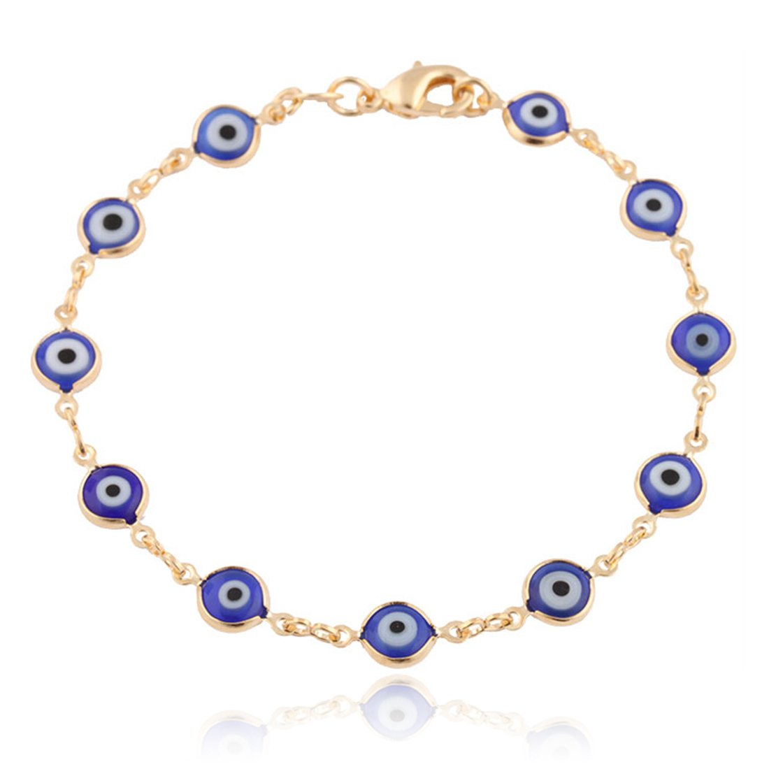 Gold Overlay with Navy Blue Mini Evil Eye Style 7.5 Inch Clasp Bracelet (T-326)