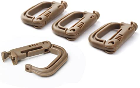 OneTigris 4 Pack Multipurpose D-Ring Grimloc Locking for Molle Webbing Tan