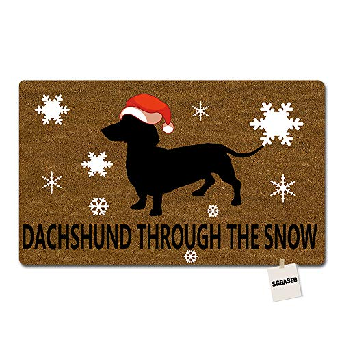 SGBASED Door Mat Funny Doormat Dachshund Through The Snow Mat Washable Floor Entrance Outdoor & Indoor Rug Doormat Non-Woven Fabric (23.6 X 15.7 inches) (Best Doormat For Snow)