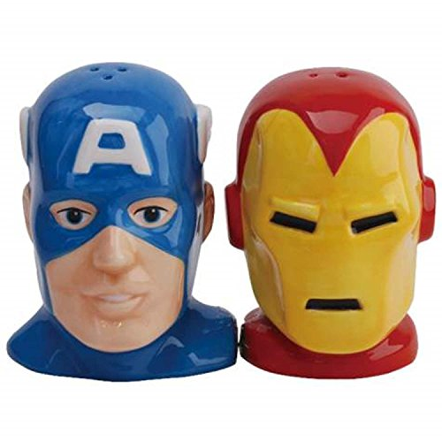 Captain America and Iron Man Heads Salt and Pepper Shakers -