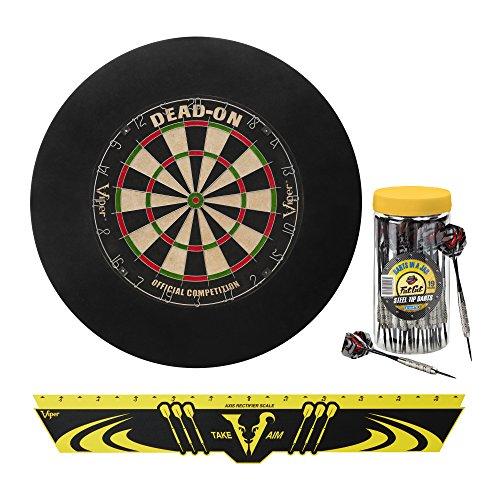 Wall Tip (Viper Defender Backboard & Sisal/Bristle Steel Tip Dartboard Bundle: Premium Set (Dead On Dartboard, Defender Backboard, Edge Throw Line, 21pc Jar of Darts))