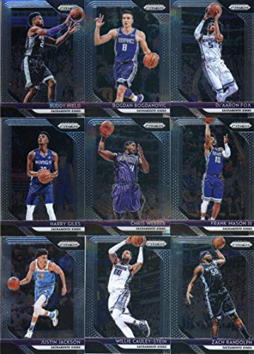 (2018-19 Panini Prizm Basketball Sacramento Kings Team Set (Veterans) 9 Cards: De'Aaron Fox(#151), Bogdan Bogdanovic(#161), Chris Webber(#165), Buddy Hield(#171), Justin Jackson(#191), Harry Giles(#201), Zach Randolph(#211), Willie Cauley-Stein(#221), Frank Mason III(#231))