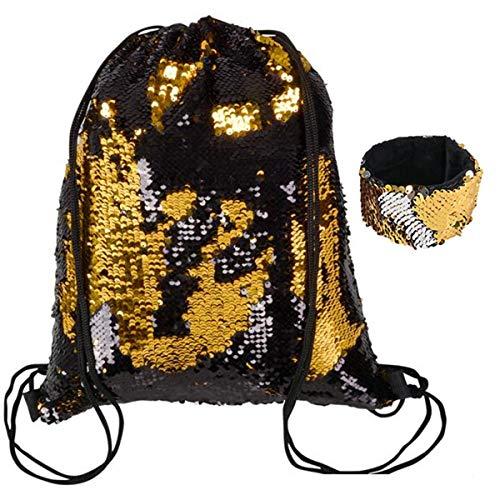 (Reversible Sequin Drawstring Bag ~ Backpack ~ Memaid Sequin Gym Bag, Sports Bag, Glittering Shoulder Bag, Travel Bag (Black/Gold))