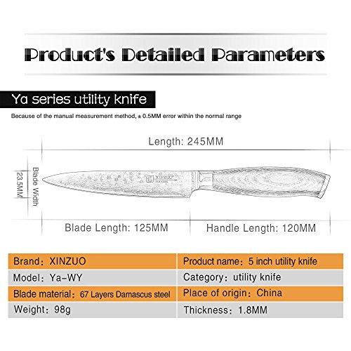 XINZUO 5 inch Utility Knife 67 Layer Japanese Damascus Steel Kitchen Knife Fruit Knife Peeling Knife with PakkaWood Handle - Ya Series by XINZUO (Image #6)
