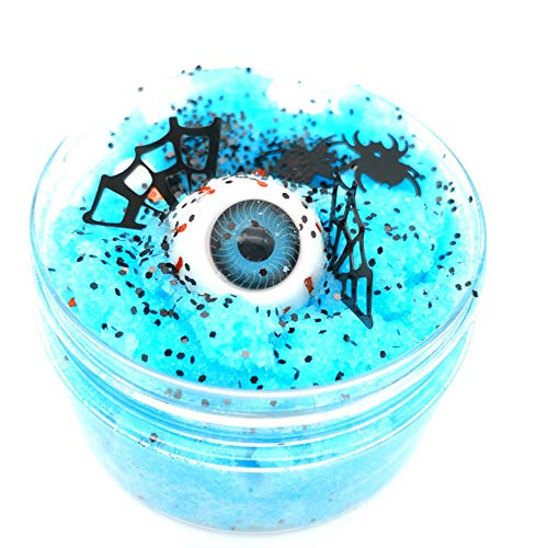 100ml Crystal Clay Toy Halloween Silk Eyeball Cloud Slime Toy Reduced Pressure Mud Stress Relief Clay Toy for Adults and Children (Blue)]()
