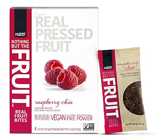 Nothing But the Fruit Real Fruit Bites, Gluten Free, Vegan Snacks, Raspberry Chia, 0.9 oz. pouch (40 Count)