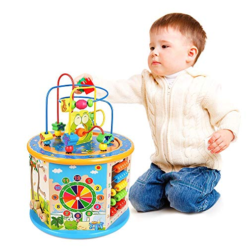 (Titiyogo Wooden Activity Cube 8 in 1 Learning Toys for 1 Year Old Boys Girls Bead Maze Shape Sorter Educational Development Toy Gift for Kids)