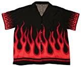 Summer Time Breeze Boys Button up Flames Collared Shirt (Large, Red/Red)