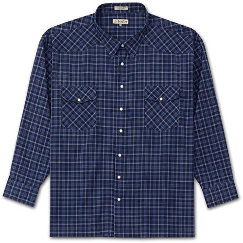 Foxfire Big and Tall Long Sleeve Easy Care Snap Western Plaid Shirt (Navy 5X-T) - Foxfire Long Sleeve Button
