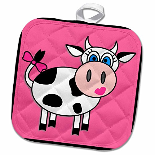 "3D Rose Happy Cow Girl Pot Holder, 8"" x 8"""