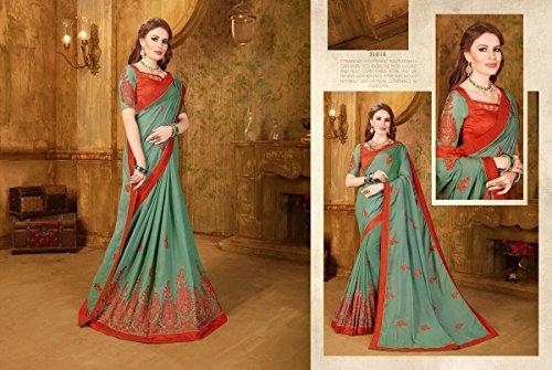 Indiano Ragazze EMPORIUM 2672 Tradizionale da Sari Camicetta Nuova Donna Banarasi Saree Dirndl Costume Donna Seta Bollywood Matrimonio ETHNIC 1U8xp7w8